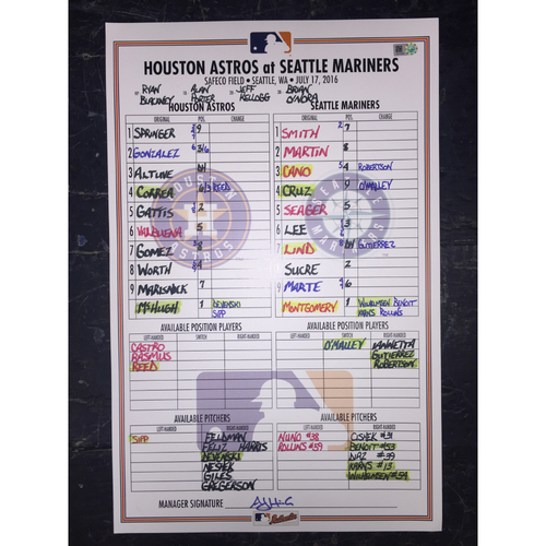 Photo of Astros at Mariners, July 17, 2016, Game-Used Lineup Card