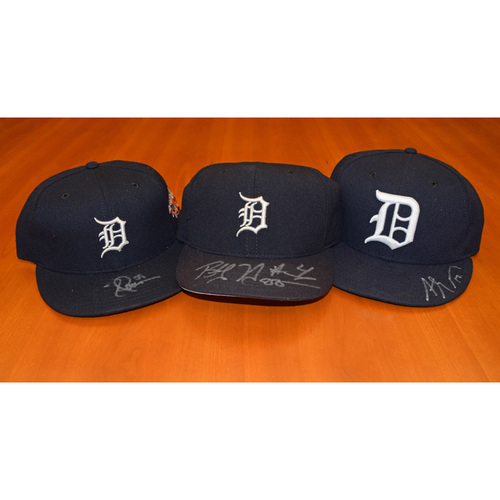 Photo of Detroit Tigers Autographed Cap Collection (Higginson, Jones, Gose) - Not Authenticated by MLB