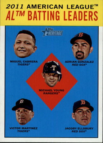 Photo of 2012 Topps Heritage #2 Miguel Cabrera/Adrian Gonzalez/Michael Young/Victor Martinez/Jacoby Ellsbury