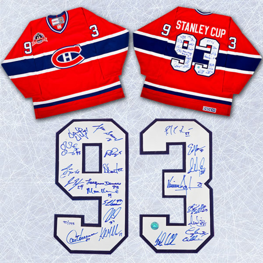 1993 Montreal Canadiens Team Signed Stanley Cup Jersey LE #/193 - 21 Autographs *Roy, Muller, Carbonneau, etc*