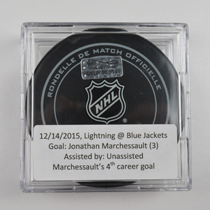 Jonathan Marchessault - Tampa Bay Lightning - Goal Puck - December 14, 2015 (Blue Jackets Logo)