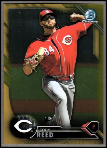 Photo of 2016 Bowman Chrome Prospects Gold Refractors #BCP157 Cody Reed