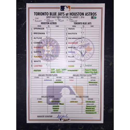 Photo of Astros vs Blue Jays, August 1, 2016, Game-Used Lineup Card
