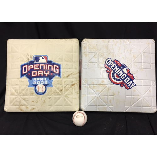 Photo of Game-Used Opening Day Bases from 2005 and 2015 and an Official 2005 World Series Baseball