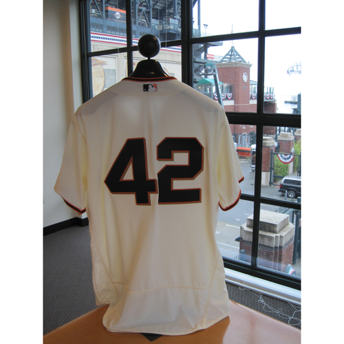 Photo of San Francisco Giants - Game Used - Jackie Robinson Day #42 Jersey - Mark Gardner