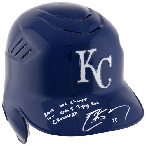 Photo of Eric Hosmer Kansas City Royals 2015 MLB World Series Champions Autographed Batting Helmet with Multiple Inscriptions. #1 In a Limited Edition of 35.