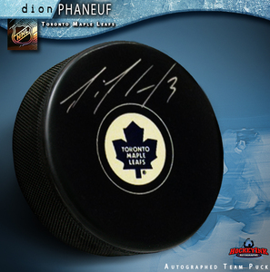 DION PHANEUF Signed Toronto Maple Leafs New Style Puck
