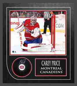 Carey Price Signed Puck Framed Canadiens