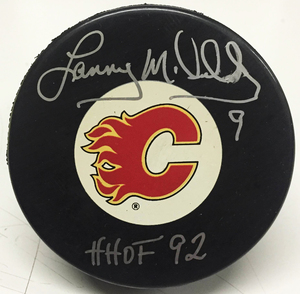 LANNY MCDONALD Signed Calgary Flames Puck *Signature is Smudged