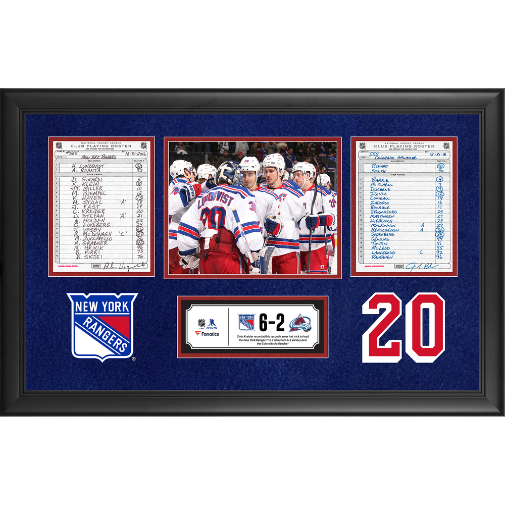 New York Rangers Framed Original Line-Up Cards From December 31, 2016 vs. Colorado Avalanche - Chris Kreider's Second Career Hat Trick