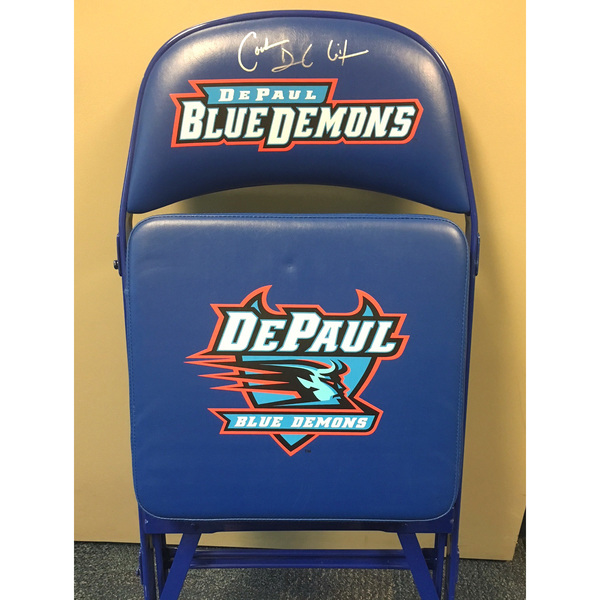 Photo of Dave Leitao Autographed DePaul Basketball Team Bench Chair