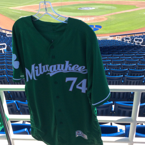 Photo of Freddy Peralta 2018 Team-Issued St. Patrick's Day Jersey