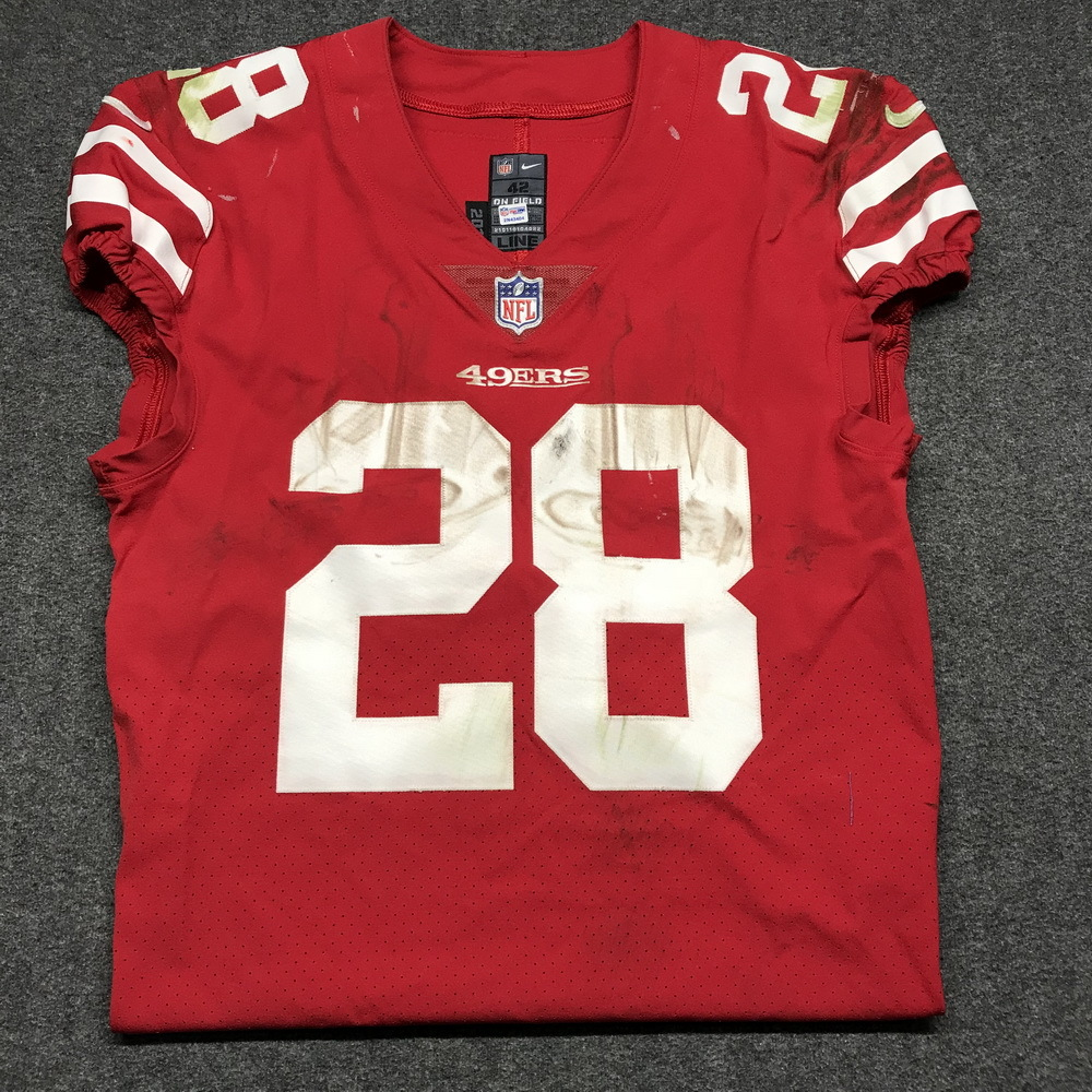 NFL Auction | STS - 49ers Carlos Hyde game worn 49ers jersey ...