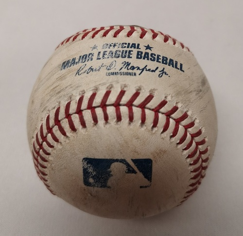Photo of Authenticated Game Used Baseball - Rajai Davis Single against Ken Giles (September 7, 2018 vs CLE). Top 9.