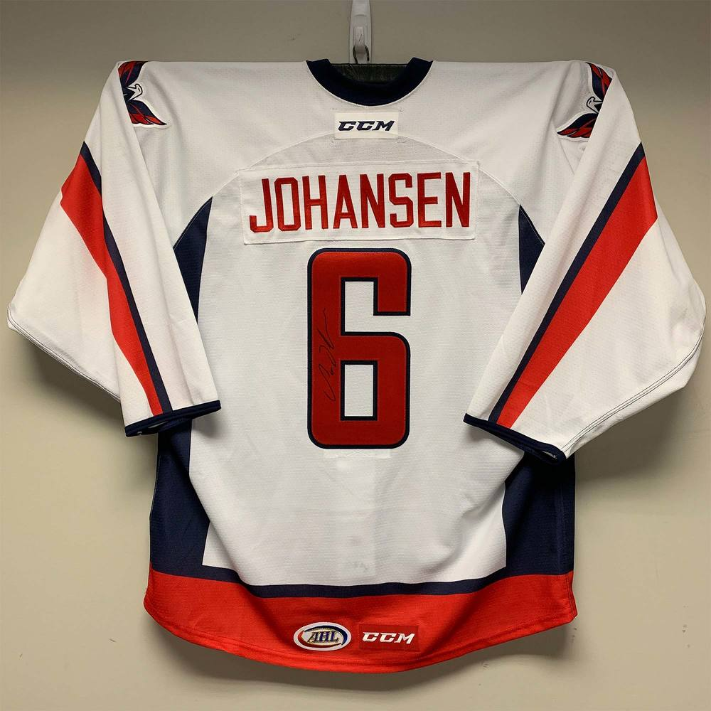 Hershey Bears Capitals Stanley Cup Champions Celebration Jersey Worn and Signed by #6 Lucas Johansen