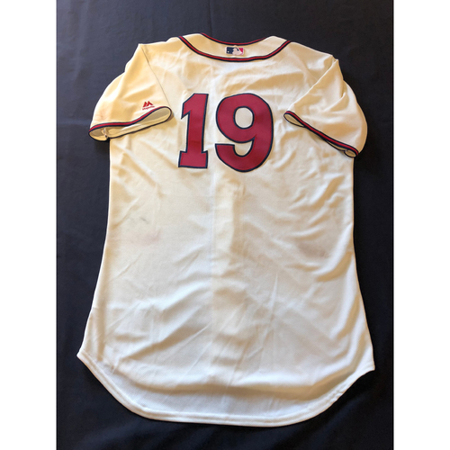 Photo of Joey Votto -- Game-Used 1935 Throwback Jersey (Starting 1B) -- Rangers vs. Reds on June 15, 2019 -- Jersey Size 44
