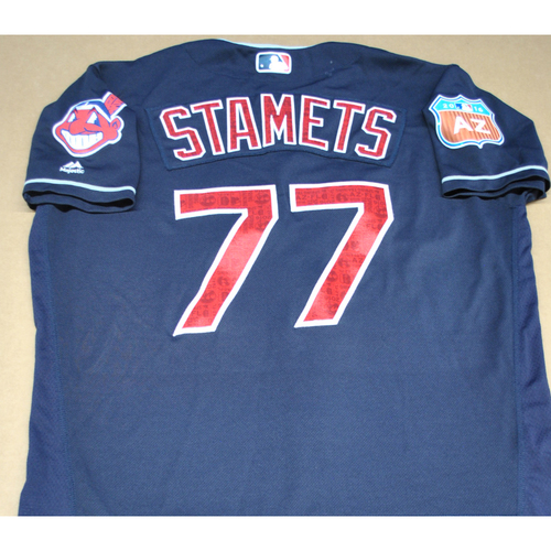 Photo of Game-Used 2016 Spring Training Jersey - Eric Stamets - Size 46 - Cleveland Indians