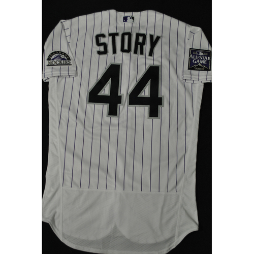 Photo of Hank Aaron Chasing the Dream Foundation: Trevor Story 2021 MLB All-Star Workout Day BP-Worn # 44 Jersey