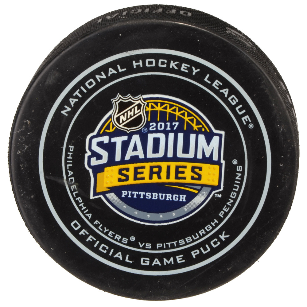 2017 Stadium Series Pittsburgh Penguins vs. Philadelphia Flyers Game-Used Puck, Used During The 2nd Period