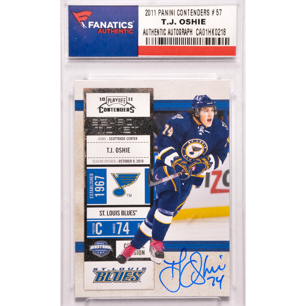 T.J. Oshie St. Louis Autographed 2011 Panini Contenders #57 Card