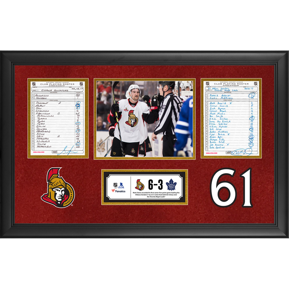 Ottawa Senators Framed Original Line-Up Cards From February 18, 2017 vs. Toronto Maple Leafs - Mark Stone's First Career Five-Point Game