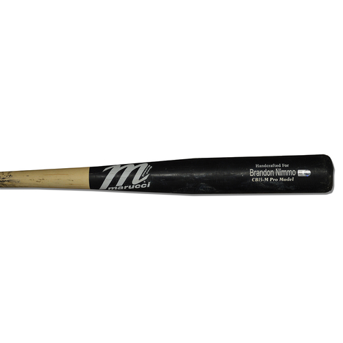 Photo of Brandon Nimmo #9 - Team Issued Cracked Bat - Black and Beige Marucci Model - 2018 Season