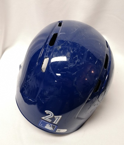 Photo of Authenticated Game Used Helmet - #21 Luke Maile (April 18, 18: 2-for-2 with 1 Double, 2 Runs, 1 RBI and 1 BB). Size Not Listed.