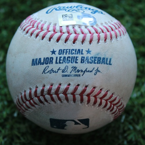 Photo of Game-Used Baseball: Cole Irvin Major League Debut - Cam Gallagher Pop Out (PHI @ KC - 5/12/19)