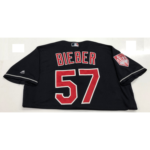Photo of Shane Bieber 2019 Team-Issued Spring Training Jersey