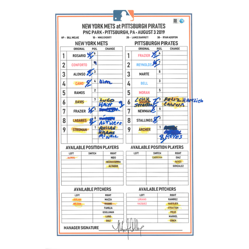 Photo of Game Used Lineup Card - Marcus Stroman Makes Mets Debut; McNeil 2-2, HR (12); Ramos 4-5, 6 RBI's; Mets Win 7-5 - Mets vs. Pirates - 8/3/2019