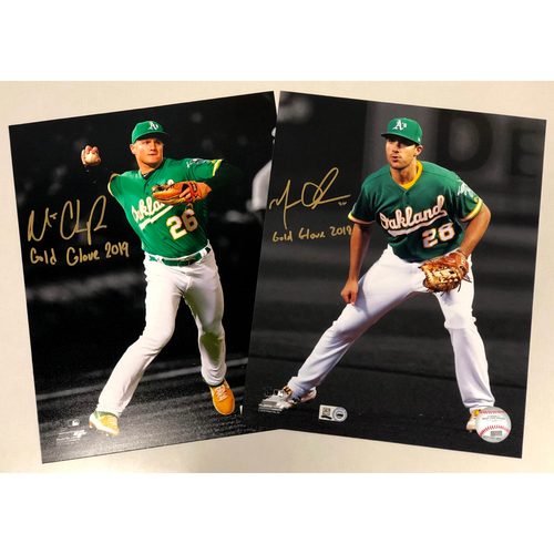 "Photo of Matt Chapman and Matt Olson Autographed 8""10"" Photo w/ ""Gold Glove 2019"" Inscription"