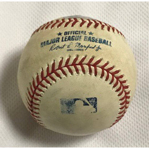Photo of 2020 NLCS MVP Corey Seager Game-Used Baseball, 9/10/20 Dodgers at D-backs: Seager Singled off of Madison Bumgarner in the top of the 1st