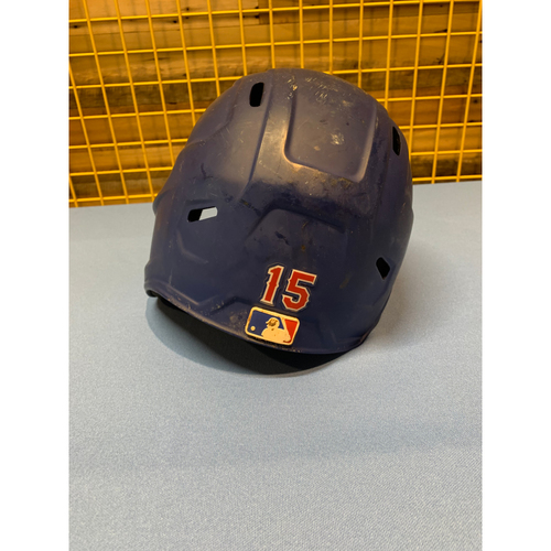 Photo of Nick Solak Game-Used Matte Blue Helmet Worn Opening Day 2020 - Inaugural Opening Day at Globe Life Field
