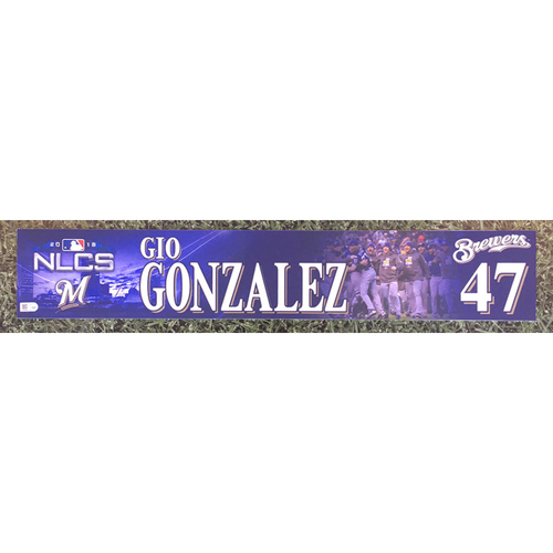 Photo of Gio Gonzalez 2018 Game-Used Postseason (NLCS) Locker Nameplate