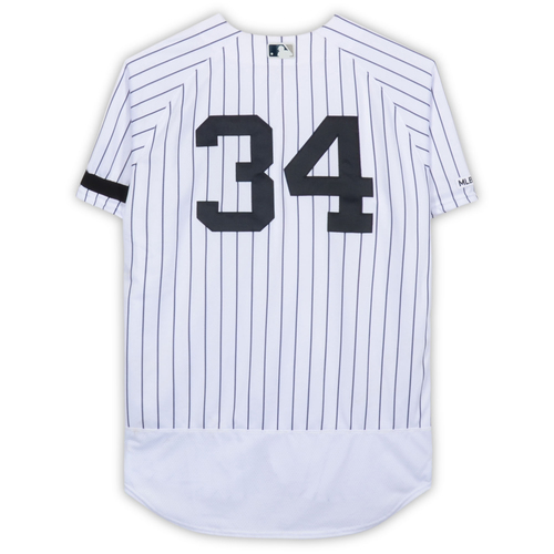 J.A. Happ New York Yankees Game-Used #34 White Pinstripe Jersey vs. Baltimore Orioles on March 31, 2019 - Size 46