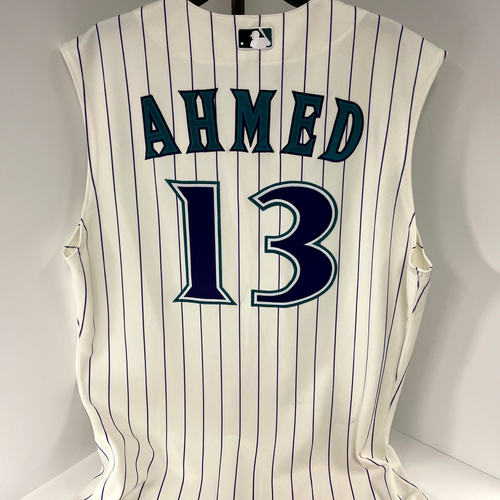 Photo of Nick Ahmed Game Used Pinstripe Jersey - Mariners @ D-backs 9/5/2021