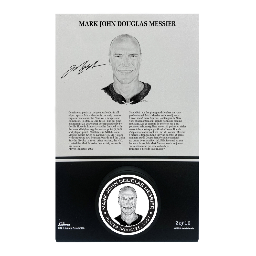 Mark Messier Autographed Legends Line Honoured Member Puck Stand - Limited Edition 8/10