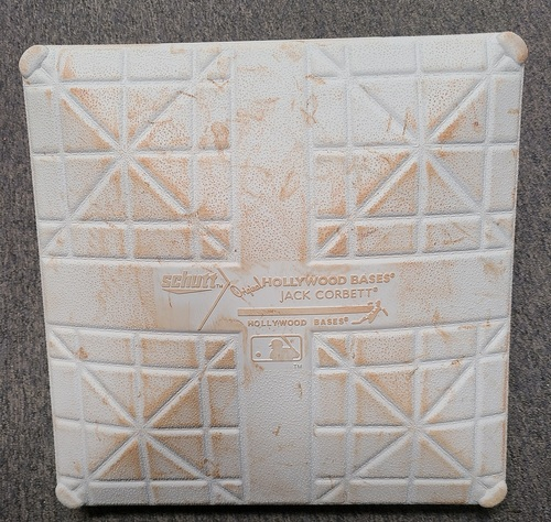 Photo of Authenticated Game Used Base: 3rd Base for Innings 1 to 3 (Jul 30, 2021 vs KCR). 1st Game in Toronto in 670 Days. In place for Teoscar Hernandez Home Run.