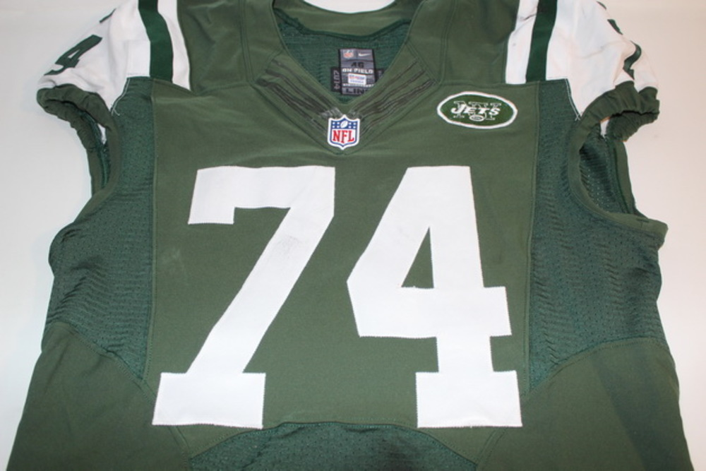 NFL Auction   CRUCIAL CATCH - JETS NICK MANGOLD GAME WORN JETS ...