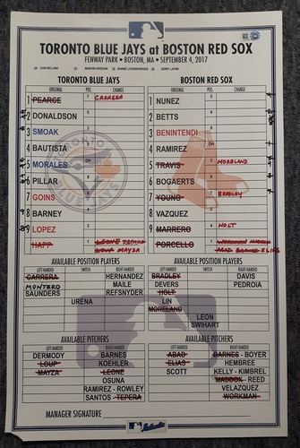 Photo of Authenticated Game Used Line-Up Card: September 4, 2017: Mookie Betts recorded his 40th Double fo the Season. 11 inches by 17 inches.