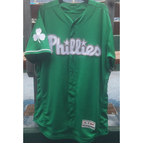 Photo of 2018 Game-Used Rhys Hoskins St. Paddy's Day Jersey