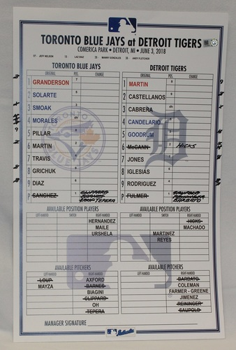 Photo of Authenticated Game Used Lineup Card - June 3, 2018 vs Detroit Tigers: Aaron Sanchez went 6 IP with 1 ER and 7 Ks for the Blue Jays