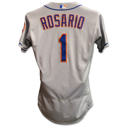 Photo of Amed Rosario #1 - Game Used Road Grey Jersey - Mets vs. Rockies - 6/18/18