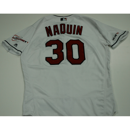 Photo of Tyler Naquin 2019 Team Issued Home White Jersey