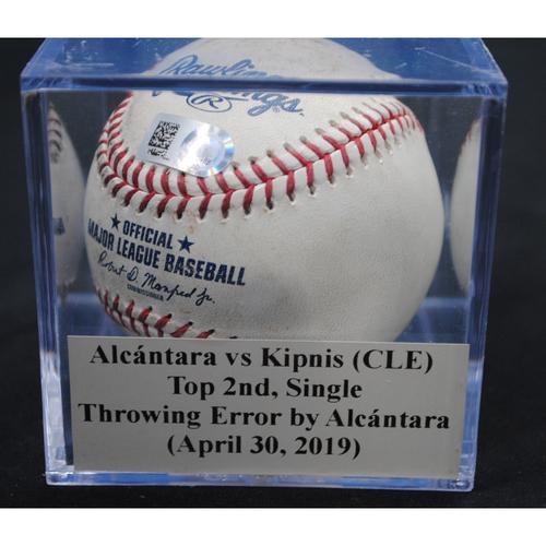 Photo of Game-Used Baseball: Sandy Alcántara vs Jason Kipnis (CLE), Top 2nd, Single, Throwing Error by Alcántara (April 30, 2019)