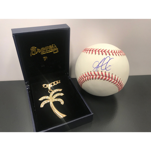 "Photo of Ozzie Albies MLB Authenticated Autographed Baseball and Non-Autographed Gate Giveaway ""Ozzie Chain"""