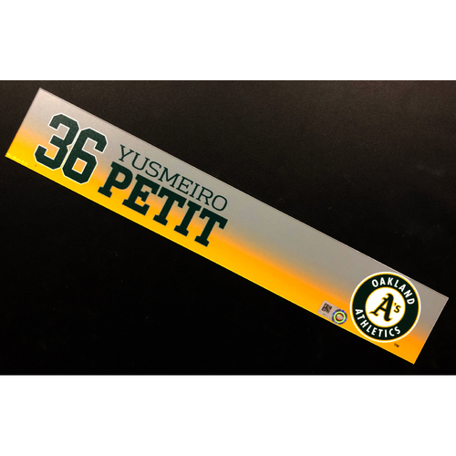 Photo of Game-Used 2020 Spring Training Locker Nameplate - Yusmeiro Petit