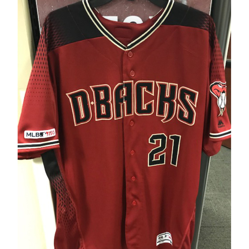 Photo of 6-Time All-Star Zack Greinke 2019 Team-Issued Red Alternate Jersey: Greinke played 4 seasons with the D-backs pitching 714.2 innings and striking out 683 batters with a 3.40 ERA