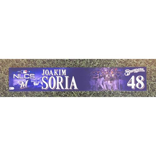 Photo of Joakim Soria 2018 Game-Used Postseason (NLCS) Locker Nameplate