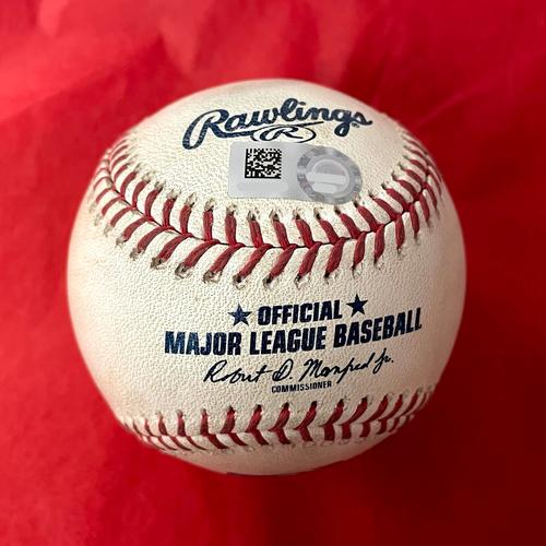 Photo of Game-Used Baseball - Fernando Tatis Foul Ball vs. Sean Poppen - Padres @ D-backs 8/15/2021